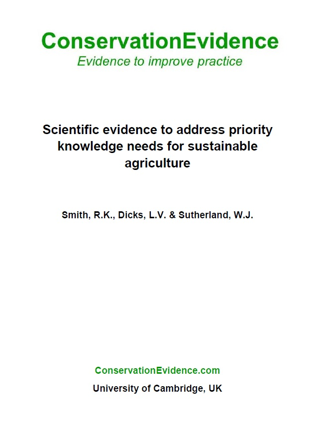 Priority Knowledge Needs for Sustainable Farming Addressed
